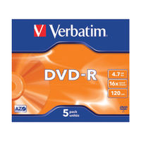View more details about Verbatim 4.7GB 16x Speed DVD-R Jewel Case, Pack of 5 | 43519