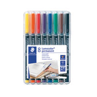 View more details about Staedtler Assorted Lumocolor Fine Tip Permanent Pens, Pack of 8 - 318-WP8