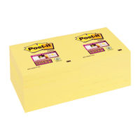 Super Sticky Canary Yellow 76 x 76mm Post-it Notes, Pack of 12 - 654-12SSCY