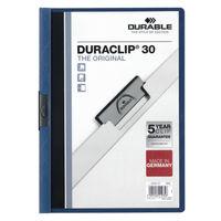 Durable Duraclip 3mm Dark Blue A4 Clip Folders - Pack of 25 - CD26XM-EB