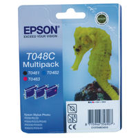 View more details about Epson T048C Cyan/Magenta/Black Inkjet Cartridge (Pack of 3) C13T048C4010