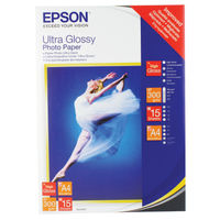 Epson White A4 Ultra Glossy Photo Paper, 300gsm - 15 Sheets - C13S041927