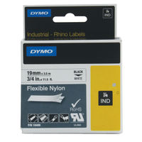 Dymo Rhino Nylon Label Tape, Black on White, 9mm x 3.5m - S0718120