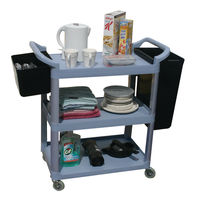 GPC Three Shelf Grey Service Trolley, 100kg Capacity - HI424Y