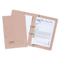 Guildhall Foolscap Buff Transfer Spiral Pocket Files 420gsm, Pack 25 - GH23034