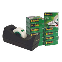 Scotch Tape - 19mm x 33m Magic Tape, Pack of 12 and Free Dispenser - 24871