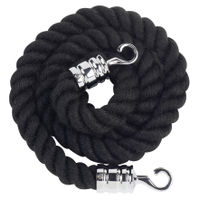 View more details about Rope 25x1500mm Black with Chrome Hooks VERRS-CLRP-CHBL