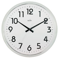 View more details about Acctim Orion Silent Sweep Wall Clock 320mm Chrome/White 21287
