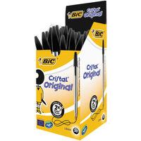 Bic Cristal Medium Black Ballpoint Pens (Pack of 50) - 8373631