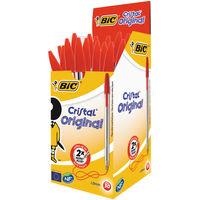 Bic Cristal Medium Red Ballpoint Pens (Pack of 50) - 8373611