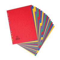 Elba A4 Plain Tabs 20 Part Multi-Coloured Index Dividers - 400007514