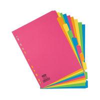 Elba A4 Bright Coloured, Plain Tabs 10 Part Index Dividers 240gsm - 400008300