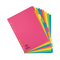 Elba A4 Bright Coloured, Plain Tabs 10 Part Index Dividers 240gsm - 400008300