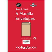 Manilla C4 Peel and Seal Envelopes 115gsm, Pack of 5 x 40- 9731119