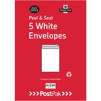 PostPak White C4 Peel and Seal Envelopes 90gsm, Pack of 200 - 9731232