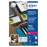 Avery Satin White Double Sided Business Card, 220gsm - Pack of 250 - C32016-25