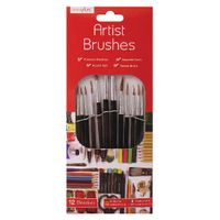 Work of Art Black Flat Tip Natural Bristle Artist Brushes, Pack of 12 - TAL06717