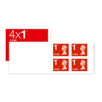1st Class Large Stamps x 100 - (25 Postage Stamp Booklets of 4) - SB4FL RED