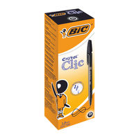 BIC Cristal Clic Grip Black Ballpoint Retractable Pens, Pack of 20 - 850732