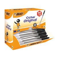 Bic Cristal Medium Black Ballpoint Pens (Pack of 100) - 896040