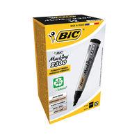 BIC 2000 Black Chisel Tip Permanent Marker Pens, Pack of 12 - 820926