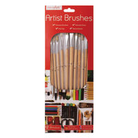 Work of Art Flat Tip Natural Bristle Artist Brushes, Pack of 12 - TAL06717
