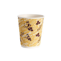 4Aces 8oz Ripple Red Bean Paper Cups, Pack of 500 - HHRWPA8