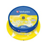 View more details about Verbatim Non-Printable 4.7GB 4x DVD+RW Discs, Pack of 25 - 43489
