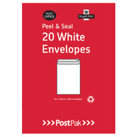 PostPak White C6 Peel and Seal Envelopes 80gsm, Pack of 20 - 9730813