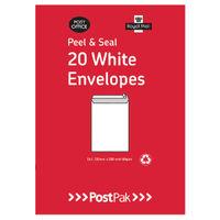 PostPak White C6 Peel and Seal Envelopes 80gsm, Pack of 20 - 9730813