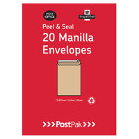Postpak Manilla Peel and Seal C5 Envelopes 115gsm, Pack of 20 - 9730695