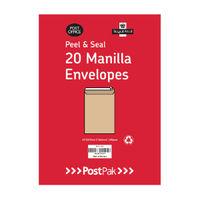Postpak Manilla C4 Peel and Seal Envelopes, 115gsm - 9730466