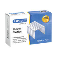 View more details about Rapesco No.26 Metal Staples 26/6mm, Pack of 5000 - S11662Z3