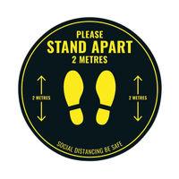 View more details about Social Distance Floor Sticker 400mm Circular  Pack of 5  Socialstick01
