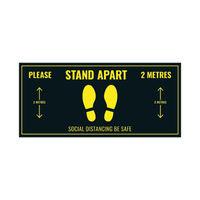 View more details about Social Distance Warning Floor Sticker 400x180mm (Pack of 5) Socialstick01Rec