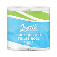 2Work Luxury White 2-Ply Quilted Toilet Rolls (10 Packs of 4) DQ4Pk