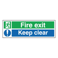 Fire Exit Keep Clear 150 x 450mm Self Adhesive Safety Sign - SR71733