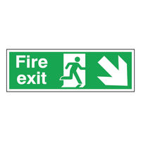 Fire Exit Arrow Down Right 150 x 450mm Self Adhesive Safety Sign - SR71721