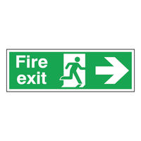 Fire Exit Arrow Right 150 x 450mm Self Adhesive Safety Sign - E99A/S