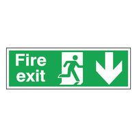 Fire Exit Arrow Down 150 x 450mm Self Adhesive Safety Sign - E100A/S