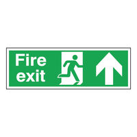 View more details about Fire Exit Arrow Up 150 x 450mm Self Adhesive Safety Sign - EB09A/S