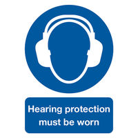 View more details about Hearing Protection Must Be Worn A4 PVC Safety Sign - MA01950R