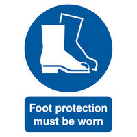 View more details about Foot Protection Must Be Worn A4 PVC Safety Sign - MA01450R