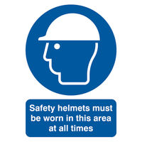 View more details about Safety Helmets Must Be Worn A4 PVC Safety Sign - MA04650R