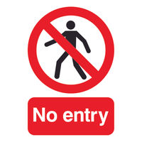 No Entry A5 PVC Warning Sign - ML01751R