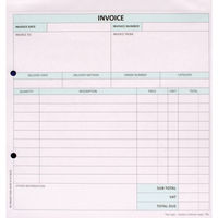 Custom Forms White/Pink 2-Part Invoices, Pack of 50 - HCI02