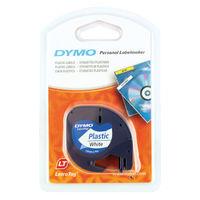 Dymo Letratag White 12mm x 4m Plastic Tape - S0721660