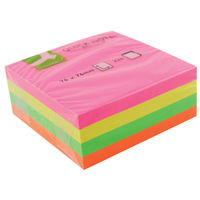 Q-Connect Quick Note Cube 76 x 76mm Neon (Adheres to most surfaces and removes easily) KF01348