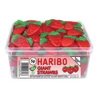 View more details about Haribo Giant Strawberries Tub (120 Sweets) - 9547