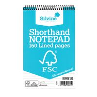 Silvine Shorthand Spiral Feint Ruled Notepad - Pack of 10 - FSC160